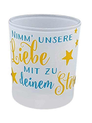 Teelicht für Sternenkinder Trauer Kerze Trost Schutzengel mit Spruch Fehlgeburt Geschenk (Türkis-1)