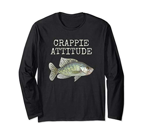 Crappie Attitude | Crappie Fishing | White Crappie Long Sleeve T-Shirt