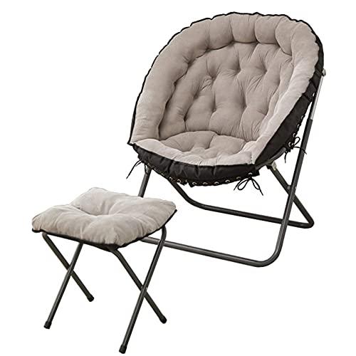 LuoMei Moon Chair Lazy Sofa Hebilla de Seguridad Emergente con Marco de Metal Y Capacidad de Carga Trasera Aproximadamente 150 Kg Silla de Playa Extraíble Y Lavable Envío Gratis Cepillo Adhesivo