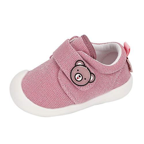 MASOCIO Baby Schuhe Mädchen Lauflernschuhe Babyschuhe Sneaker Kleinkind Flach Anti-Rutsch Pink Größe 19