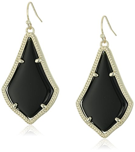 Kendra Scott Signature Alex Earrings in Gold Plated and Black Glass
