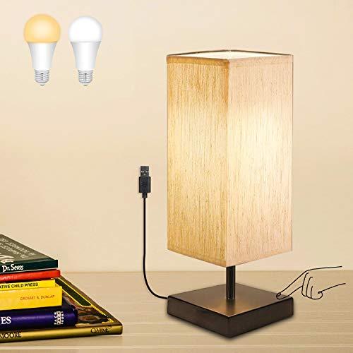 USB Lámpara de Mesa con Sensor Táctil, BRTLX Regulable LED Lámpara Mesita de Noche con 2 LED Bombillas E27 (Blanco Cálido y Blanco Frío) para Dormitorio, Estudio, Habitación de Bebé y Cafetería