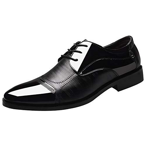 Dorical Herren Schnürhalbschuhe/Business Männer Anzugschuhe, Kunstlederschuhe Schnürhalbschuhe Oxford Schuhe Lackleder Hochzeit Leder Schwarz Braun 38-47 Promo(Schwarz,44)