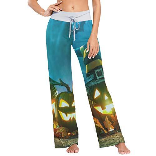 Pantalones de Pijama para Mujer Pantalones de Dormir Pantalones Largos atléticos de Pierna Ancha Lámpara de Calabaza de Halloween Noche