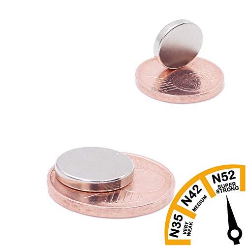 Brudazon | 40 mini schijfmagneten 10x2mm | N52 dikke stand - neodymium magneten ultrasterk | Power magneet voor modelbouw, foto, whiteboard, prikbord, koelkast, knutselen | magnetische schijf extra sterk
