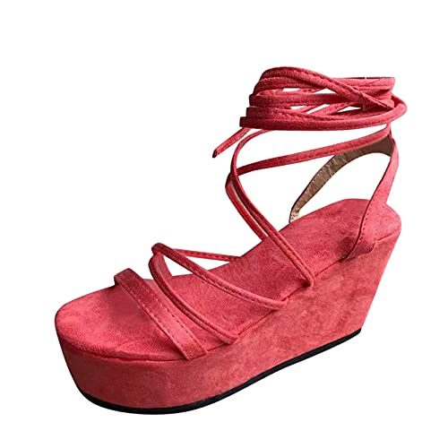 YANFANG Sandalias De CuñA Verano, Moda, Gamuza, Cruz, Correas, Punta Abierta,Sandalias con Abierta Y Correa Cruzada Gamuza Verano A La Moda para Mujer,38,Rojo