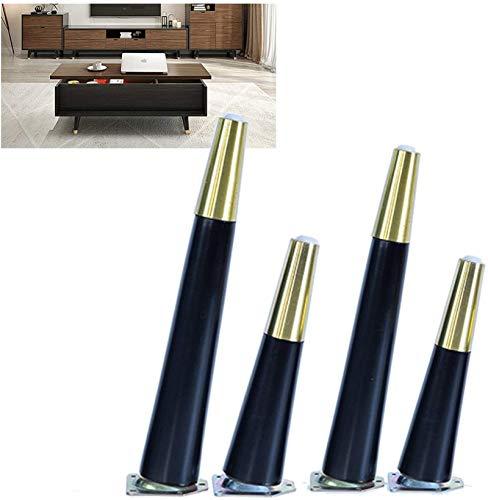 Patas para muebles, Pies de muebles de madera para uso pesado Negro - Mesa de café Reemplazo de las piernas 20 cm 25 cm - 4pcs Pierna cónica que soporta pies, fácil de instalar, con protectores de pis