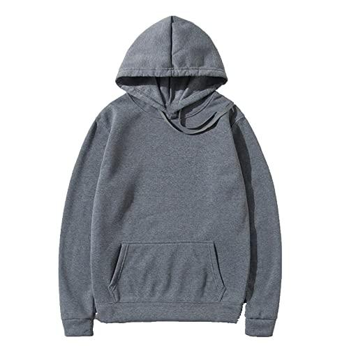 Primavera otoño suéteres hombres capucha, gris, XXL