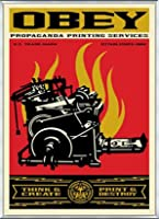 ポスター オベイ Print and Destroy/Shepard Fairey 手書きサイン入り 額装品 アルミ製ベーシックフレーム(シルバー)