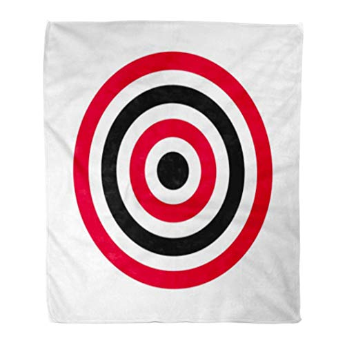 Elma Banju Throw Blanket Red Aim Circle of Target Archery Shoot Yellow Accurate Arrow 60x80 Inches Warm Fuzzy Soft Blanket For Bed Sofa 48x60IN