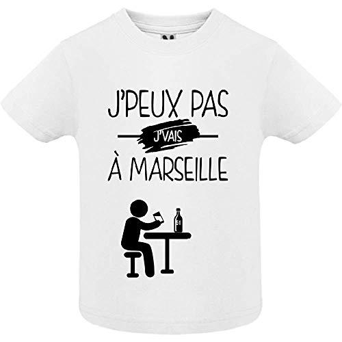 LookMyKase T-Shirt - J Peux Pas j Vais a Marseille - Bébé Garçon - Blanc - 12mois