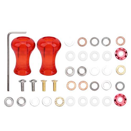 zhoul 1 par de Perilla de manija de reacondicionamiento de Carrete de Pesca con señuelo Amo de plástico de 27,5 mm para Carrete Giratorio de bajo Perfil (Rojo)