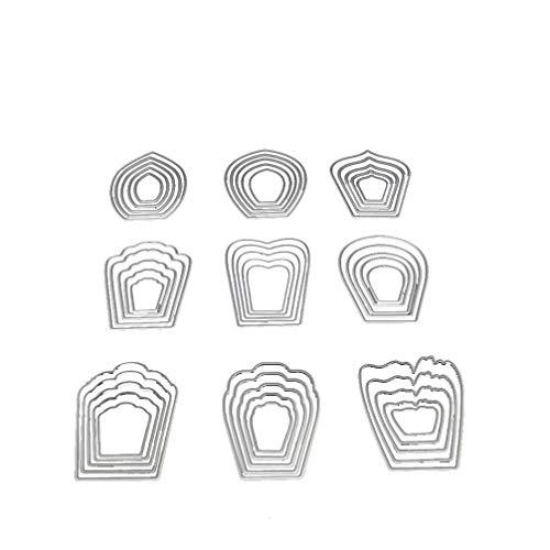 HEALLILY Nueve Flores Troqueles de Corte de Aleación de Acero en Relieve Plantilla de Plantilla de Corte Molde Diy Manualidades para Arte Artesanía Álbum Tarjeta de Papel Scrapbooking Decoración