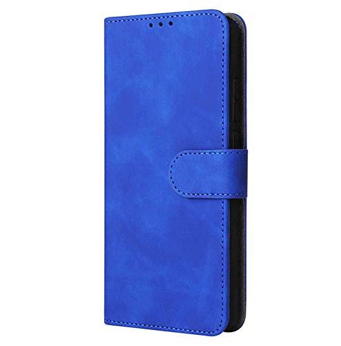 KERUN Leder Folio Hülle für vivo Y72 5G Brieftasche Lederhülle, Premium PU+TPU Flip Cover Hülle Schutzhülle mit Ständer Funktion/Kartensteckplätzen/Magnetic Snap, Blau