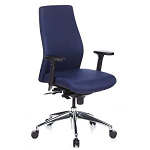hjh OFFICE 710002 Silla de oficina SKAVE 200 tejido azul oscuro, ergonómico, alta calidad, resistente, con apoyabrazos, ajuste de altura, profundidad del asiento ajustable, estable, silla alta gama