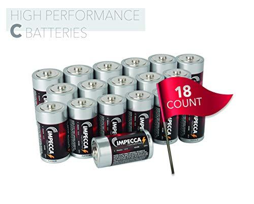 IMPECCA C Batteries 18 Pack High Performance C Alkaline Battery 1.5 Volt LR14, 18 Count