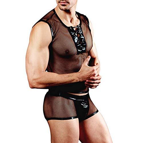 G.N Intimo Sexy Homme Stripper Costume da Uomo Traspirante in Maglia Traspirante Set di Biancheria Intima da Uomo