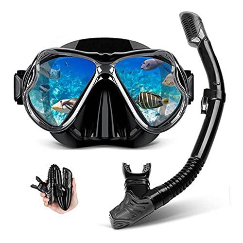 GQTYBZ Juego de Snorkel Premium, Gafas de Snorkel Antivaho de Silicona de Vidrio Templado Juego de Snorkel en Seco Equipo de Correas Ajustables para la Cabeza para Hombres Y Mujeres