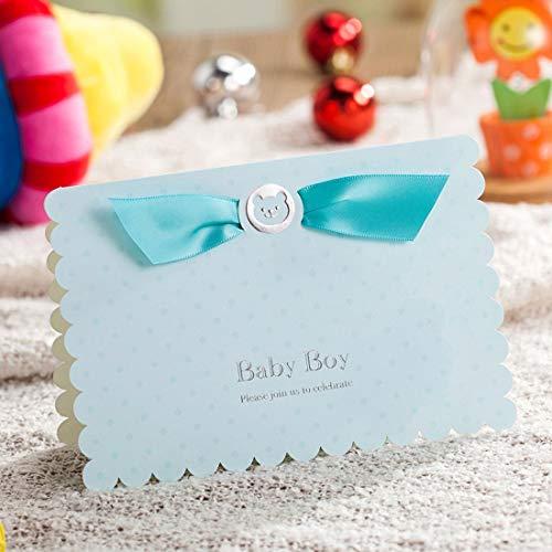 WISHMADE 20x Blau Einladungskarten Jungen für Babyparty Kindergeburtstag Kinder Party Geburtstag und Umschläge, 20 Stück