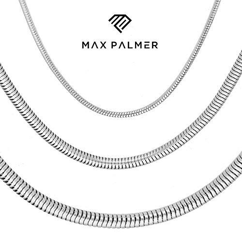 Max Palmer Schlangenkette Edelstahl Silber - [09.] Dicke: 2,5mm - Länge: 45cm