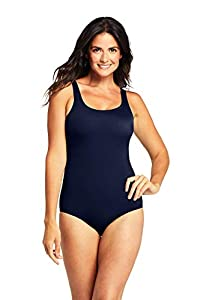 Lands' End Womens Chlorine Resistant Tugless Tank Soft Cup One Piece Swimsuit Deep Sea Navy Regular 10