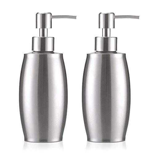 flintronic Seifenspender, 350ML Edelstahl Spender für Flüssigseife, Badezimmer Flüssigseifen Lotionspender Flüssigseifenspender für die Küchenspüle, Desinfektionsmittel, Bad (2 PCS)
