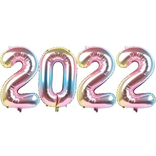 Globos 4pcs 2022 32 Pulgadas Número Globos de Papel de Aluminio Globo de Aire de dígitos Decoraciones navideñas Celebración Feliz año Nuevo (Tamaño delGlobo: 32 Pulgadas,Color: Gris Claro) Globo