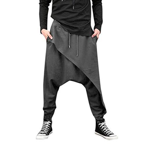 YiMiny 2019 Sweathose Herren Beiläufige Haremshosen Unregelmäßiger Rand Lose Normallack Yoga Hip Hop Hose Jogginghose Herren Baggy Sporthose Herren Hose Männer Gummizug(Grau,XL)