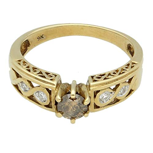 Womens Ring | 9Carat Yellow Gold 0.33ct Cognac Diamond Solitaire w/Accents Ring (Maat M 1/2) | Een van een soort sieraden