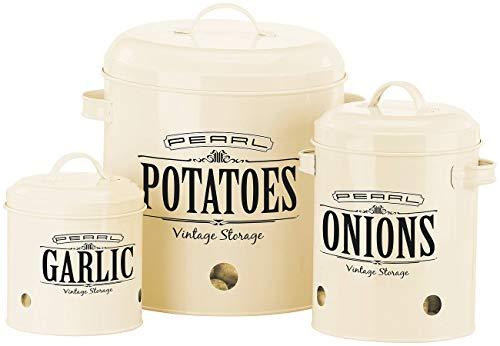 Rosenstein & Söhne Kartoffelbehälter: 3er-Set Vorratsbehälter im Retro-Look, mit Deckeln und Tragegriffen (Zwiebeltopf)