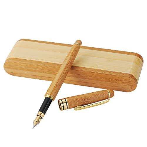 Conjunto de pluma de bambú original, Farsler Exquisito de bambú plumas de fuente de madera Fine Nib con funda de pluma plegable de bambú para la escritura y firma personalizada