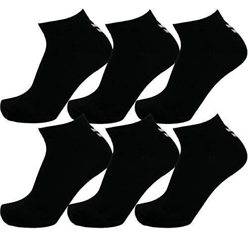 Hummel 6 Paar Sneaker Socken Damen & Herren Größen 36-48 Sport & Freizeit (schwarz (2001), 41-45 (12))