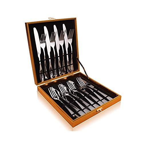 CEXTT Acero Inoxidable Vajilla Occidental Espesado Cuchillo de Filete de hogares y Tenedor Conjunto Completo de Cuchillo y Tenedor Sistema de Cuchara Regalo