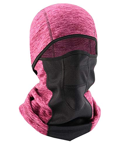 Balaclava Ski Mask Cold Weather Winter Fleece Neck Warmer Hood Face Cover for Men Women Skiing Cycling (Rose)