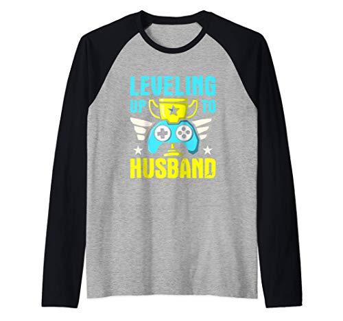 Hombre Subir de nivel de los videojuegos del novio del marido Camiseta Manga Raglan