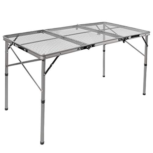 """REDCAMP Folding Portable Grill Table for Camping, Lightweight Aluminum Metal Grill Stand Table for Outside Cooking Outdoor BBQ RV Picnic, Easy to Assemble with Adjustable Heights Legs, Silver 48""""x24"""""""