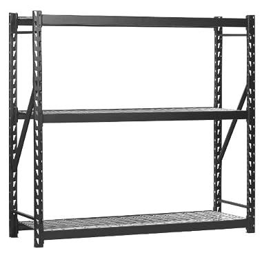 Sandusky Lee ERZ772472WL3 Black Heavy Duty Steel Welded Storage Rack, 3 Shelves, 2,000 lb. capacity per shelf, 72  Height x 77  Width x 24  Depth