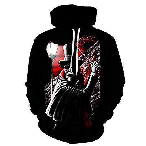 Hcxbb-16 3D Imprimer Hoodie - Crâne HEADR Hommes Sweat-Shirts 3D Imprimé Hip HOP Sweats Vestes Nouveauté Streetwear Capuche Automne Mlae Survêtements à Capuche (Color : A, Size : XL)