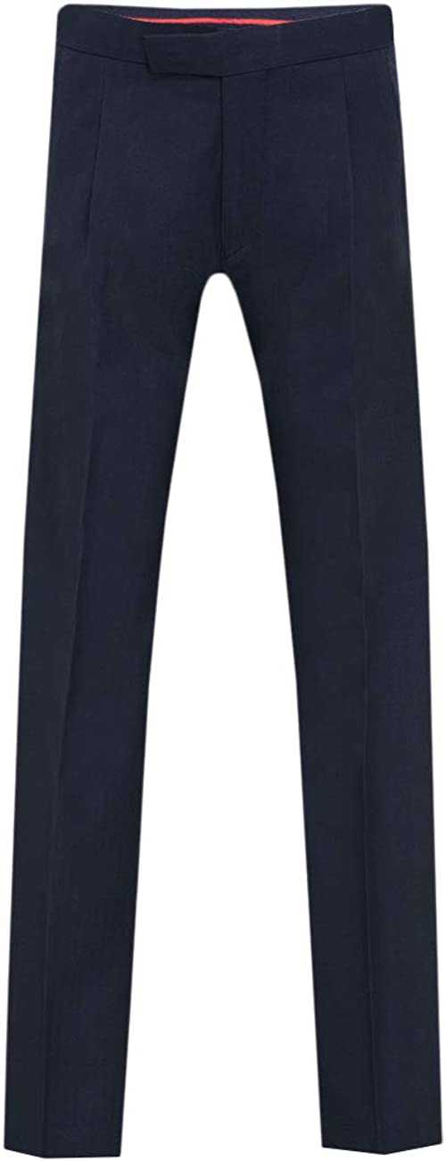 Dobell Mens Navy Herringbone Morning Wedding Suit Pants Regular Fit