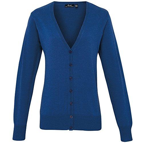 Premier Damen Strickweste mit Knopfleiste (48 DE) (Königsblau)