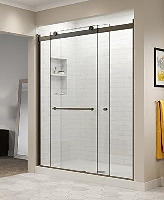 Basco Shower Door RTLA05B6070CLOR Rotolo Sliding Shower Door, Oil Rubbed Bronze, 56-60 in. Wide x 70 in. high, Clear