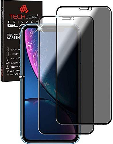 TECHGEAR [2 Piezas] Anti Espía Protector de Pantalla para iPhone 11, iPhone XR - PRIVACIDAD 3D Vidrio Edición Cobertura Completa Protecto Pantalla Vidro Templado Compatible con Apple iPhone 11, XR