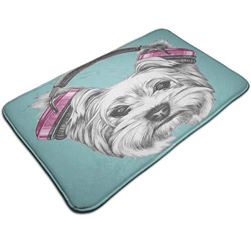 Felpudo de 60 x 40 cm, perro con auriculares escucha música Yorkshire Terrier dibujado a mano caricatura lavable a máquina, alfombra absorbente decorativa de baño con motivos