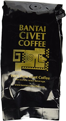 Kopi Luwak Bantai Pure Organic Shade Grown Civet Coffee - Whole Medium Roast Robusta Beans - Roasted in the USA, Imported from the Philippines - 4 Ounces