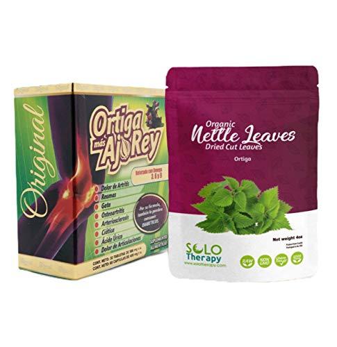 Nettle Dried Cut Leaves , 4 oz. , Hojas De Ortiga , Nettle Leaf Tea , Resealable Bag and 1 Box Ortiga Más Ajo Rey Pills (Nettle Leaf 4 oz. and Ortiga Más Ajo Rey Pastillas Bundle) Product Name