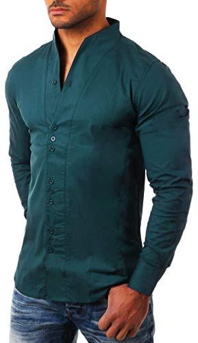 CARISMA Herren Uni Langarm Stehkragen Hemd Slimfit tailliert figurbetont Party Club Look Optik Freizeit Casual einfarbig Basic, Grösse:M, Farbe:Grün-Petrol