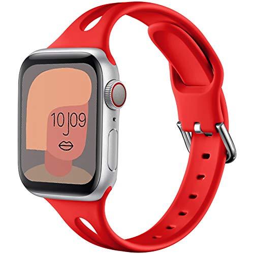 youmaofa Cinturino Compatibile con Apple Watch 38mm 40mm, Morbido Silicone Sport Speciale Triangle Hole Donne Uomo Sottile Ricambio Cinturino per Apple Watch Series SE/6/5/4/3/2/1, Rosso