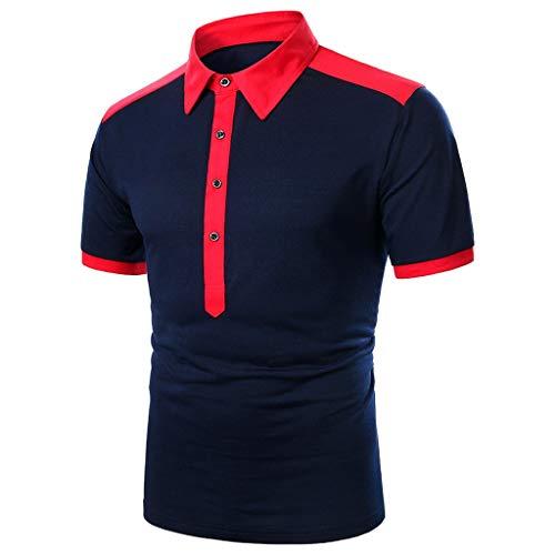 Yowablo Polo 2020 Golf Polo Top Blouse Hommes Casual Slim Fit Chemises À Manches Courtes Col Montant Chemise (XL,3Rouge)