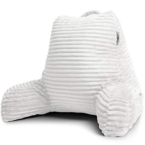 Nestl Cut Plush Striped Reading Pillow for Kids & Teens, Medium Back Pillow, Back Support Pillow, Shredded Memory Foam Bed Rest Pillow with Arms, White