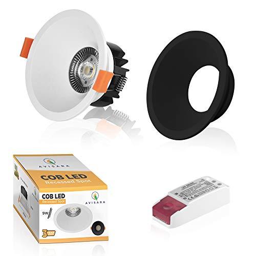 AVISARA Foco LED Empotrable Regulable - 9W Downlight Interior Techo Lámpara Blanco Bonus Pieza Negra - Impermeable para...